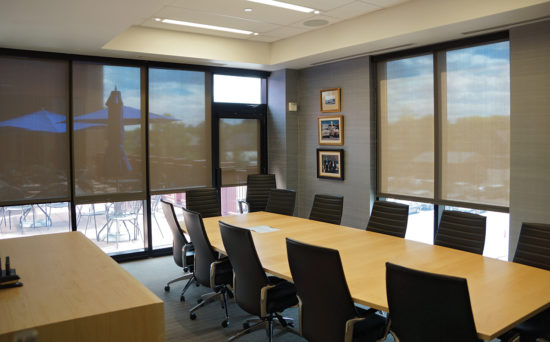 Insolroll commercial solar shades conference room glare control