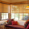 window seat with spring roller solar shades