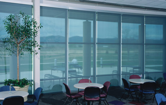 Insolroll Motorized Solar Screen Shades Cafeteria